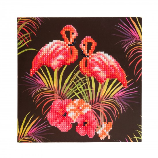 Set creativ tablou cu cristale Pink Flamingoes 18x18cm, Craft Buddy Art & Craft
