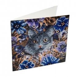 Set creativ tablou cu cristale Cat and Flowers 18x18cm, Craft Buddy