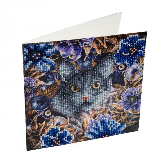 Set creativ tablou cu cristale Cat and Flowers 18x18cm, Craft Buddy Art & Craft