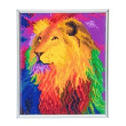 Set creativ Crystal Art in rama foto argintie Rainbow Lion 21x25cm, Craft Buddy
