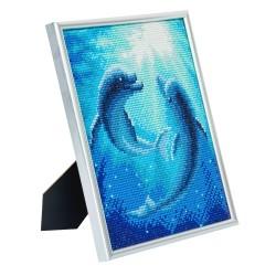 Set creativ Crystal Art in rama foto argintie Dolphin Dance 21x25cm, Craft Buddy