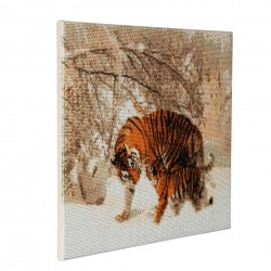 Set creativ tablou cu cristale, Crystal Art Winter Tigers 40x50cm, Craft Buddy