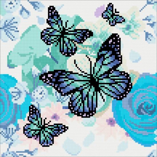 Set creativ tablou cu cristale, Crystal Art Butterfly  30x30cm, Craft Buddy Art & Craft
