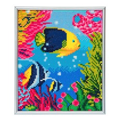 Set creativ Crystal Art in rama foto argintie Tropical Fish 21x25cm, Craft Buddy