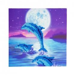 Set creativ tablou cu cristale Dolphin Pod 18x18cm, Craft Buddy