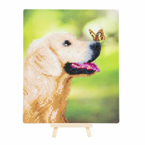 Set creativ de colectie Crystal Art Gallery Dog and Butterfly cu sevalet 21x25cm, Craft Buddy Art & Craft