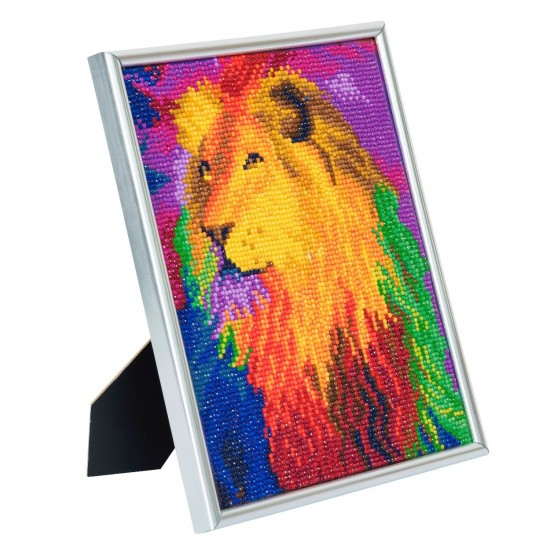 Set creativ Crystal Art in rama foto argintie Rainbow Lion 21x25cm, Craft Buddy Art & Craft