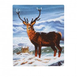 Set creativ de colectie Crystal Art Gallery Royal Scot Stag cu sevalet 21x25cm, Craft Buddy