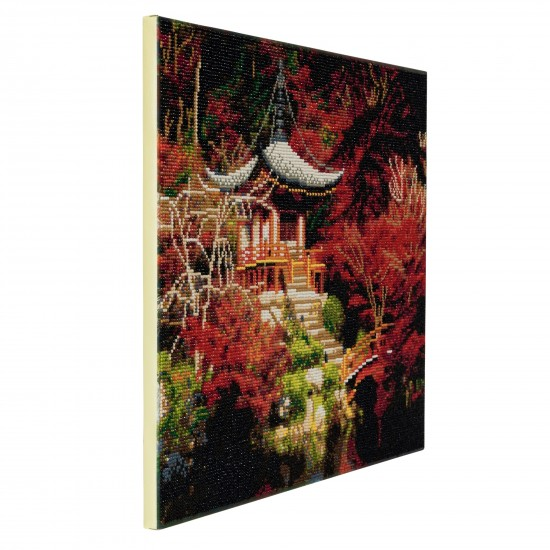 Set creativ tablou cu cristale, Crystal Art Chinese House  30x30cm, Craft Buddy Art & Craft