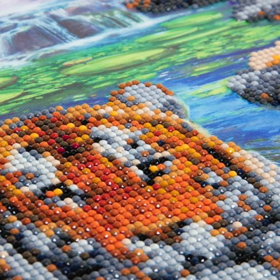 Set creativ tablou cu cristale, Crystal Art Tigers at the Jungle Pool 40x50cm, Craft Buddy Art & Craft