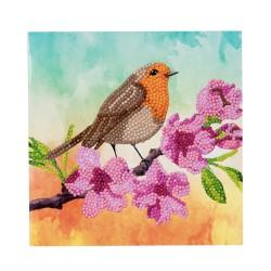 Set creativ tablou cu cristale Robin 18x18cm, Craft Buddy