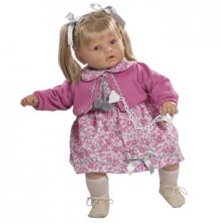 Papusa interactiva Ines in rochita cu floricele si bolero lila, 62 cm, Berbesa