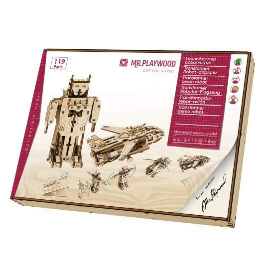 "Model mecanic ""Transformer Robot-avion"" din lemn"