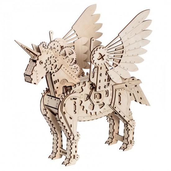 """Model mecanic """"Unicorn"""" din lemn Jocuri"""