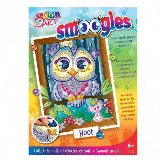 Set Creativ  Smoogles - Bufnita Hoot, 25x34cm, Sequin Art
