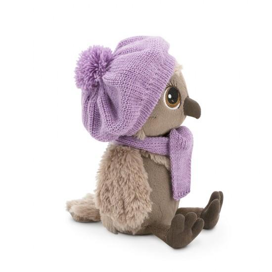 Sonya, bufnita cu caciula si fular violet, din plus, 20cm, Orange Toys