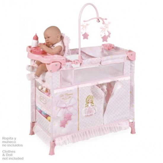 Dulapior pliant cu patut si loc de joaca pentru papusi cu accesorii,roz, Maria, 70x32x60, De Cuevas Accesorii Papusi