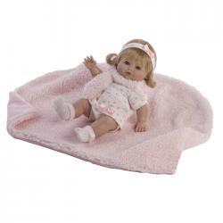 Papusa Baby cu paturica si fular roz, 34 cm, Berbesa