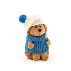 Jucarie ariciul de plus cu caciula alb albastra si pulover Prickle, 20cm, Orange Toys