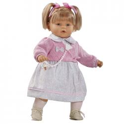 Papusa interactiva Ines in rochita si bolero roz, 62 cm, Berbesa