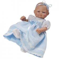 Papusa bebelus cu rochita lunga bleu, 27 cm, Berbesa