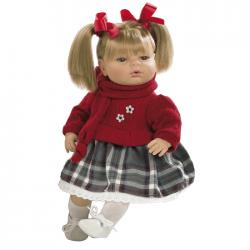 Papusa interactiva Maria cu pulover rosu si fustita ecosez, 42 cm, Berbesa