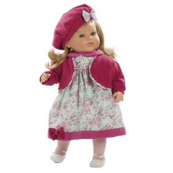 Papusa interactiva Carla in rochita cu floricele si basca roz, 52 cm, Berbesa