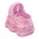 Cosulet pentru papusi cu roti, pernuta si asternuturi, roz, Maria,46x35x56, De Cuevas Accesorii Papusi