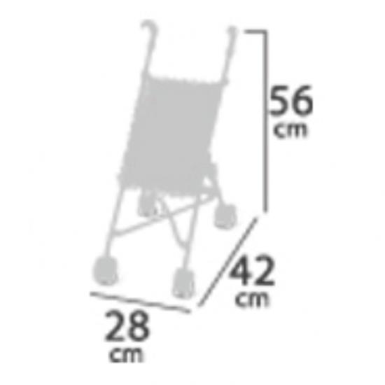 Mini carucior sport roz-gri ,42x28x56, De Cuevas Accesorii Papusi