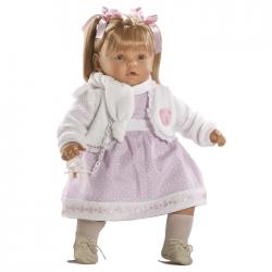 Papusa interactiva Ines in rochita lila si bolero alb, 62 cm, Berbesa