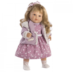 Papusa interactiva Carla in rochita cu stelute si jacheta, 52 cm, Berbesa