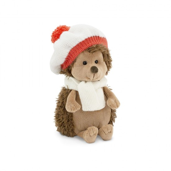 Fluffy, ariciul cu caciulita si fular alb-roz, din plus, 20cm, Orange Toys